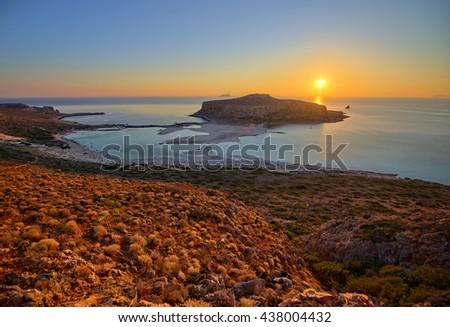 Sunset at Balos lagoon in Crete - Greece - stock photo