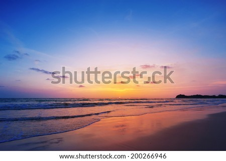 Sunset at Banana Garden Home on Klong Dao Beach - Lanta Island - Krabi - Thailand. - stock photo