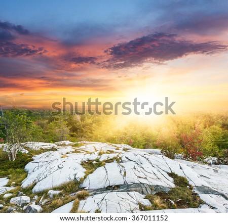 sunset at Banff National Park, Canada. - stock photo