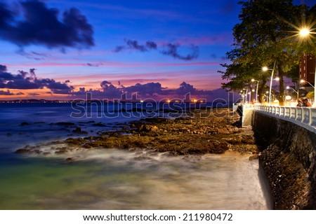 Sunset at Barra Beach, Salvador da Bahia, Brazil - stock photo