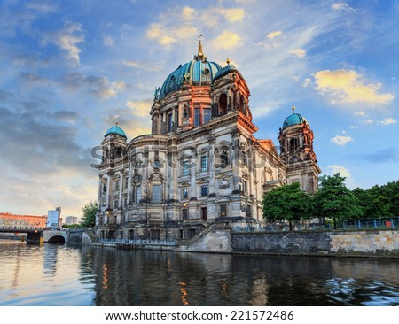 sunset at Berlin Cathedral, Germany - stock photo
