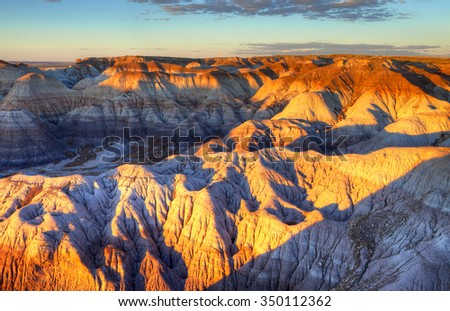 Sunset at Blue Forest, a section in Petrified Forest National Park of Arizona, USA. - stock photo
