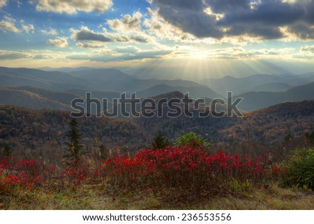 Sunset at Blue Ridge Parkway, at autumn. - stock photo