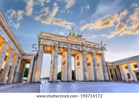 sunset at Brandenburg Gate of Berlin, Germany - stock photo