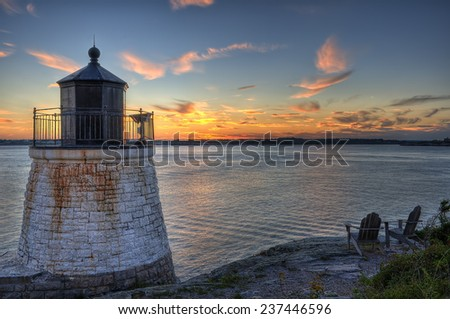Sunset at Castle Hill Lighthouse in Newport, Rhode Island - stock photo