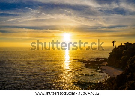 sunset at cliff - stock photo