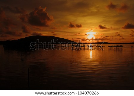Sunset at coast of the sea Thailand - stock photo