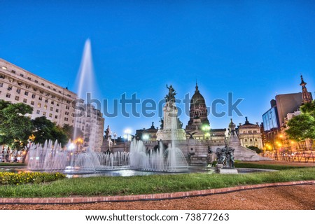 Sunset at Congress square monument in Buenos Aires, Argentina - stock photo
