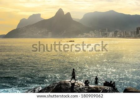 Sunset at Copacabana beach, Rio de Janairo, Brazil - stock photo
