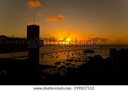 Sunset at Elevador Lacerda, Salvador da Bahia, Brazil - stock photo