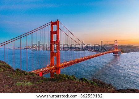 Sunset at Golden Gate Bridge, San Francisco - stock photo
