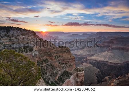 Sunset at Grand Canyon National Park, Arizona - stock photo