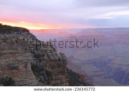 Sunset at Grand Canyon National Park in Arizona, USA - stock photo