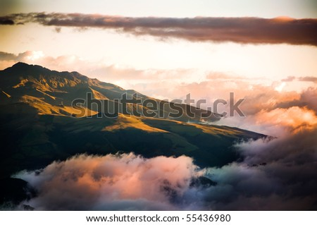 Sunset at high mountains - stock photo