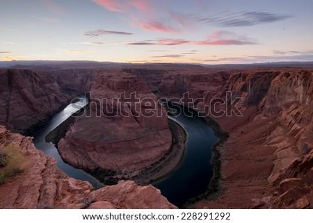 Sunset at Horseshoe bend. USA. - stock photo