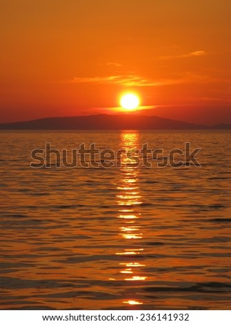 Sunset at Ist in the Adriatic sea of Croatia - stock photo