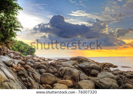 Sunset at Karon beach, Phuket, Thailand - stock photo