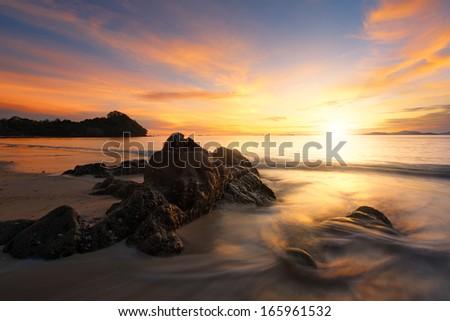 Sunset at Ko Yao Yai island in Thailand - stock photo