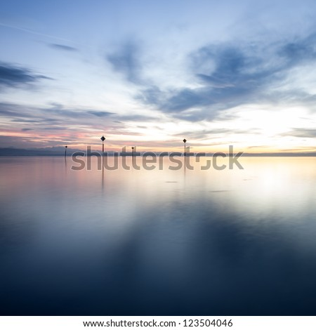 sunset at lake constance - stock photo