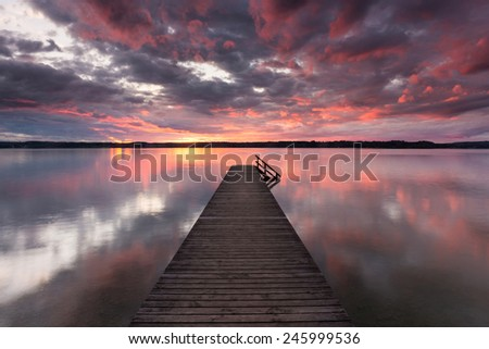 Sunset at Lake Starnberg, Germany - stock photo