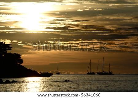 Sunset at Lipe, Thailand - stock photo