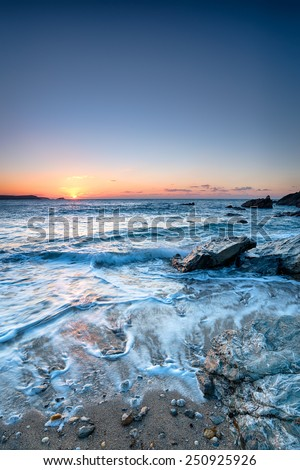 Sunset at Little Fistral Beach in Newquay, Cornwall - stock photo