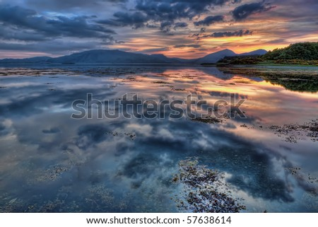 Sunset at Loch Linnhe, Scotland - stock photo