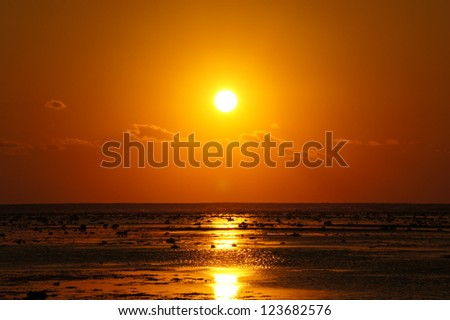 Sunset at Lombok, Indonesia - stock photo