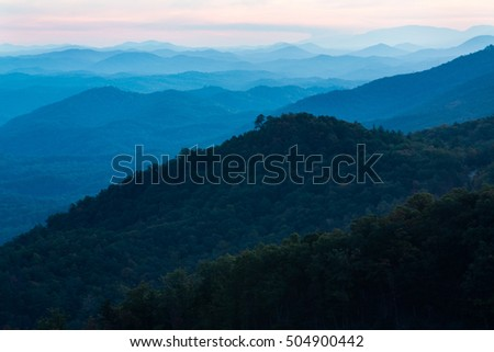 Sunset at Look Rock on the Foothills Parkway in Smoky Mountain National Park Tennessee