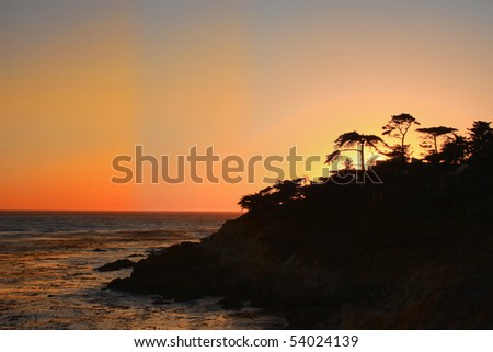 Sunset at 17 Miles Drive - stock photo