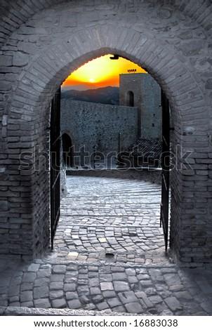 Sunset at Montefiore Conca castle - stock photo