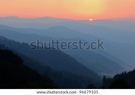 Sunset at Morton Overlook, Great Smoky Mountains National Park, Tennessee, USA - stock photo