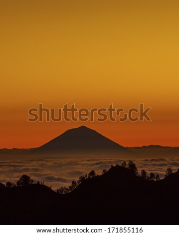 Sunset at mountain landscape, Sembalun Rim, Mount Rinjani, Lombok, Indonesia  - stock photo
