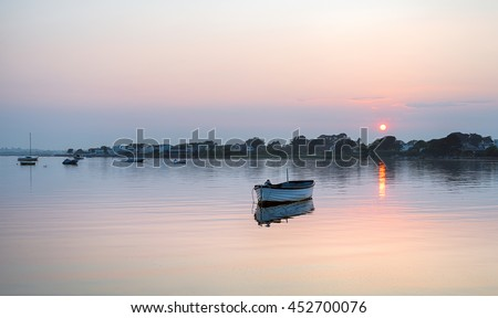 Sunset at Mudeford Quay at Christchurch in Dorset - stock photo