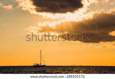 Sunset at Nadi, Fiji - stock photo