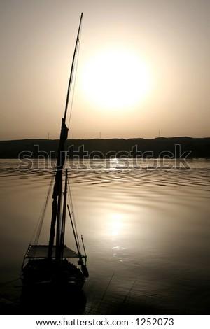 Sunset at Nile River, Egypt - stock photo