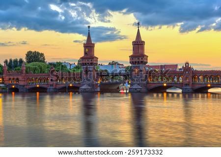 sunset at Oberbaum bridge, Berlin, Germany - stock photo
