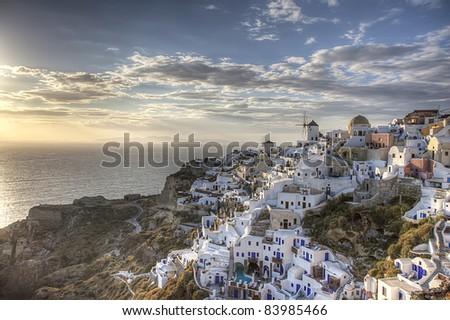 Sunset at Oia, Greece - stock photo