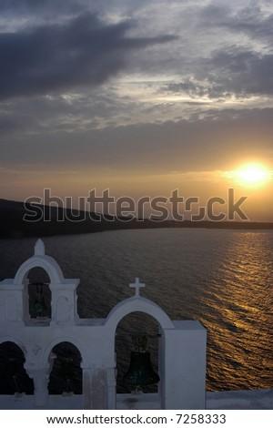 Sunset at Oia, Santorini - stock photo