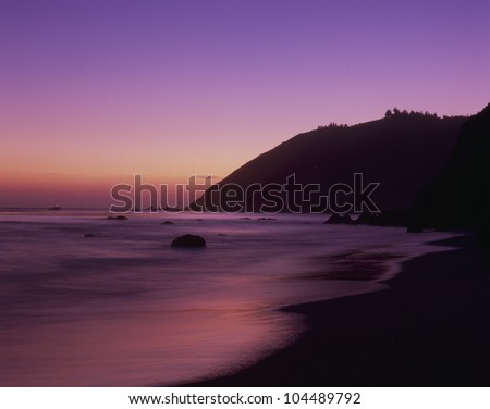 Sunset at Pfeiffer Beach, Big Sur, California - stock photo