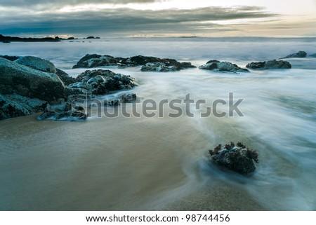Sunset at Point Montara Beach, California. - stock photo