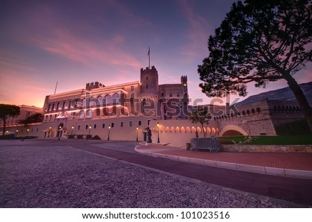 sunset at Prince's Palace in Monaco - stock photo