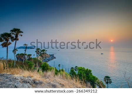 Sunset at Promthep Cape in Phuket, Thailand - stock photo
