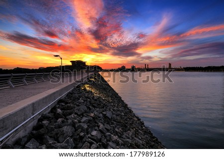 Sunset at Putrajaya Dam - stock photo