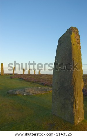 Sunset at Ring of Brodgar, Orkney, Scotland - stock photo