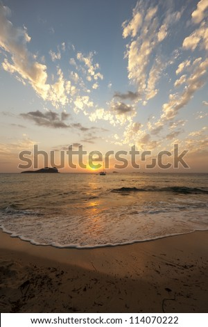 Sunset at S'Illa des Bosc, Ibiza - stock photo