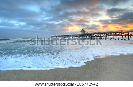 Sunset at San Clemente Pier California - stock photo
