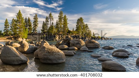 Sunset at Sand Harbour at Lake Tahoe. - stock photo