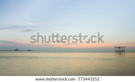 Sunset at sea and blue sky