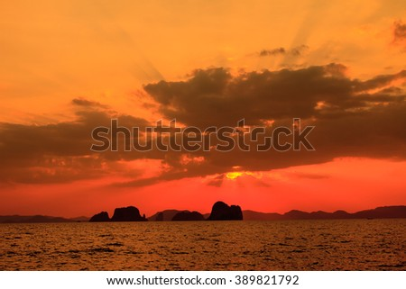 Sunset at seaside beach in Krabi,Thailand. Abstract nature background - stock photo